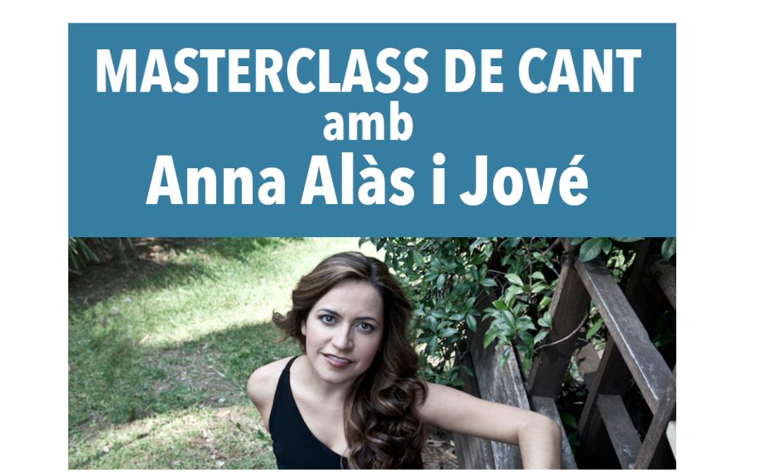 Nova Masterclass de Cant amb Anna Alàs, el proper 18 de març